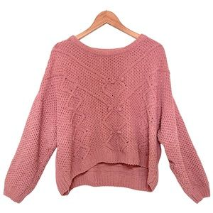 Love Tree XL Loose Knit Sweater High-Low Pink